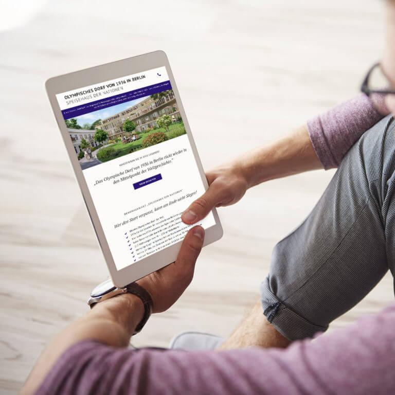 Interaktive Landingpage mit Kontaktformular für Immobilienmarketing